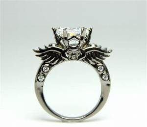 angels iron black skull ring women unique engagement With skull wedding rings for women