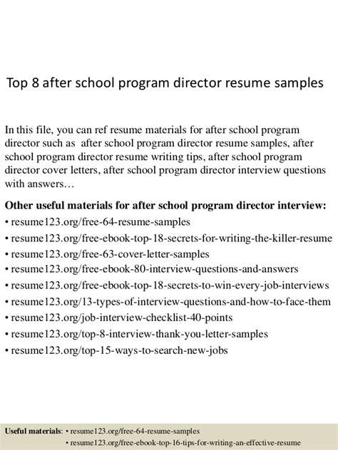 top 8 after school program director resume sles