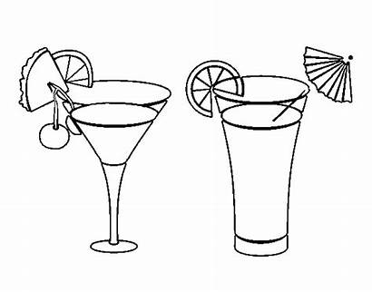 Cocktail Coloring Cocktails Drinks Drawings