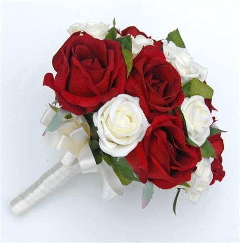 brides silk red ivory foam rose wedding bouquet sarah