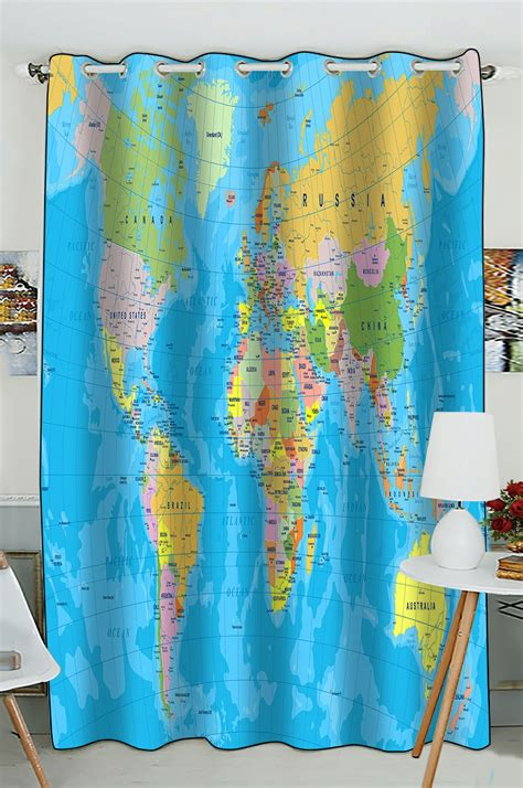 drapery world phfzk educational window curtain colored world map with