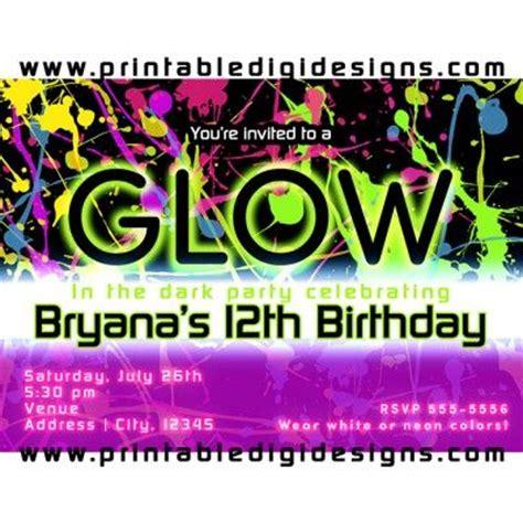 glow   dark neon paint splatter party invitation