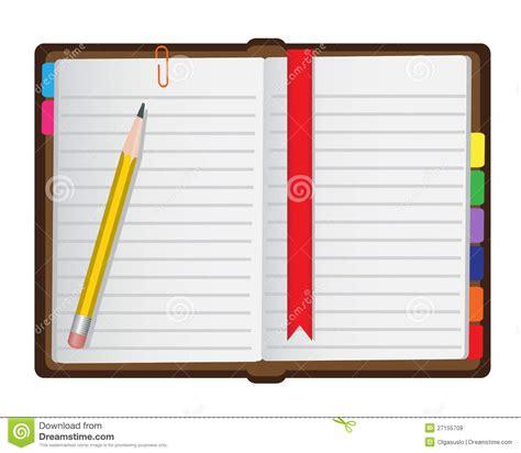 diary   white background stock illustration image