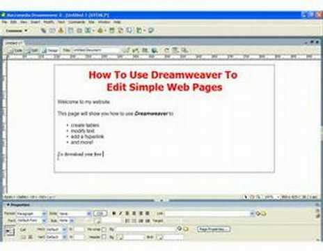 how to use dreamweaver to create simple web pages part ii youtube