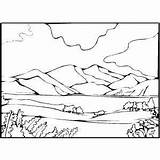 Coloring Mountain Lake Pages Landscape Range Scenery Printable Lion Desert Valley Drawing Template Scene Getdrawings Oasis Landscapes Curing Graviola Cancer sketch template