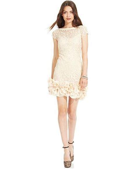 ruffle hem lace sheath dress floral lace ruffle hem sheath