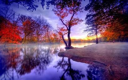 Hdr Fall Tree Reflection Lake Wallpapers Desktop