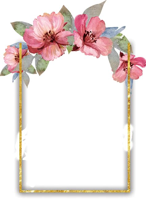 ftestickers frame gold border watercolor flowers pinkfl
