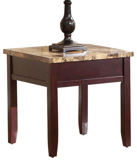 stone top side table homelegance orton faux marble top end table in rich cherry