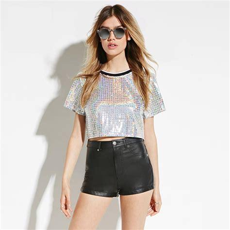 Summer Fashion Rock Bling Bling O Neck Short Sleeve Sequined Tee Shirt Silver Crop Tops T Shirt ...