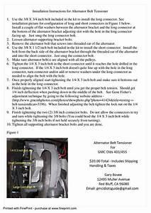 Installation Instructions For Alternator Belt Tensioner