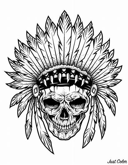 Coloring Tattoo Skull Pages Indian Chief Adults
