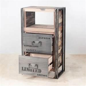 Petit Meuble Metal : meuble de rangement bois recycl 2 tiroirs 60x107 caravelle ~ Teatrodelosmanantiales.com Idées de Décoration