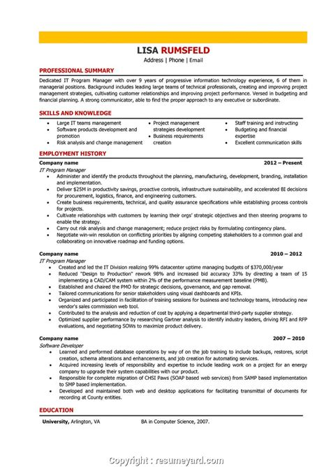 It Manager Resume Exles by Simply It Manager Cv Exle It Manager Resume Sles And