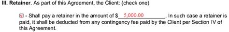 contingency fee agreement template sample