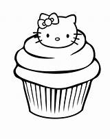 Cupcake Coloring Birthday sketch template
