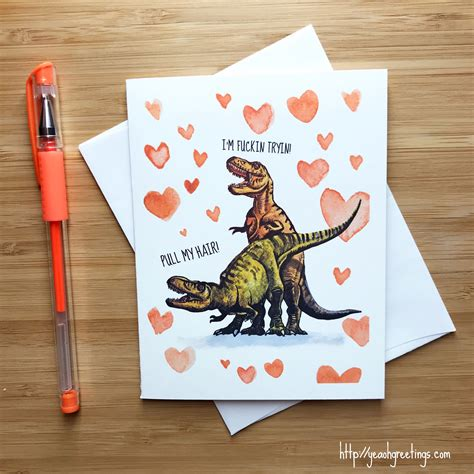 Funny T Rex Love Card Naughty Sex Card Funny Anniversary Etsy