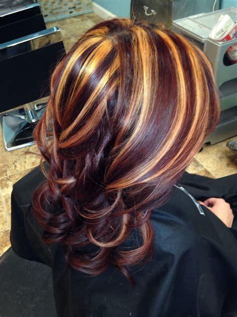red  blonde highlights   peace love hair pinterest