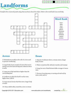 earth science crossword landforms worksheet education
