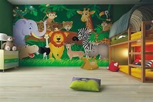 Decoration Murale Chambre Enfant : fresque murale dans la chambre d enfant 35 dessins joviaux ~ Teatrodelosmanantiales.com Idées de Décoration