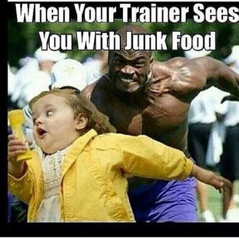 Running Kid Meme - when your trainer sees you with junk food