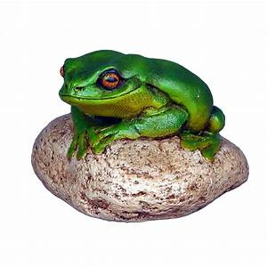Frog On a Rock Figurine Statue - Small
