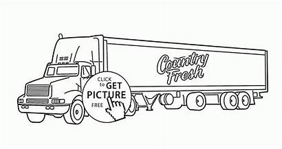 Coloring Trailer Truck Semi Pages Tractor Printables