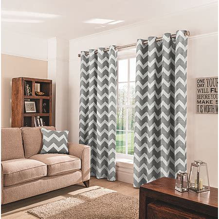 Gray Chevron Curtains Living Room by George Home Charcoal Chevron Eyelet Curtains Curtains