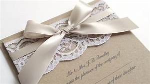 ribbon and lace wedding invitation sample by stnstationery With wedding invitations with ribbons and lace
