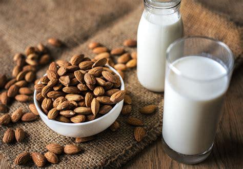 images almond milk bottle bowl brown burlap