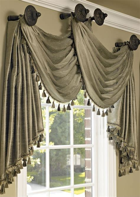Hanging Sheer Curtains With Drapes - swag with tassels designed by drapery connection s susette