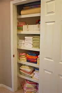 organized linen closet the side up