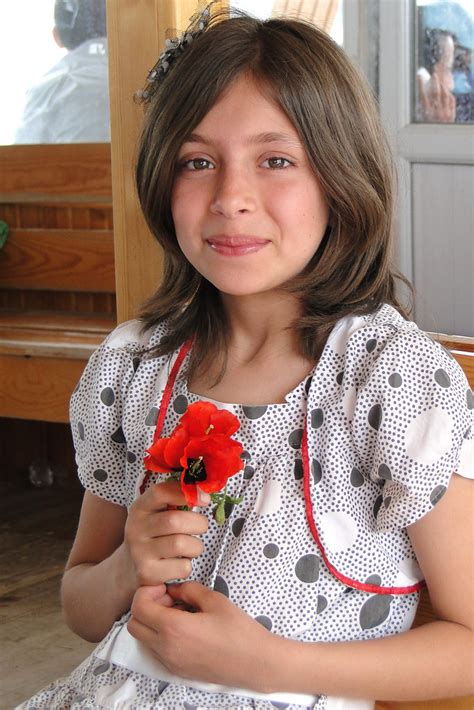 Young Turkish Girl With Flower Aboard Ferry From Akdamar Flickr