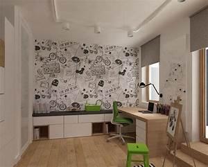 Fototapete Kinderzimmer Junge : tapete mit schwarz wei en cartoon motiven zimmer moritz ~ Eleganceandgraceweddings.com Haus und Dekorationen