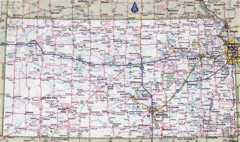 large detailed roads  highways map  kansas state