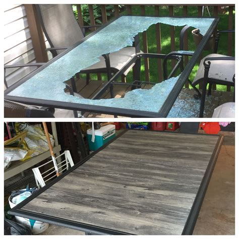 patio table top redo  glass shattered   wind