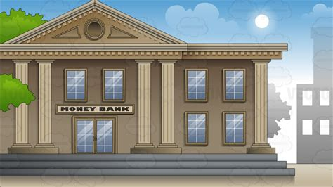 Cartoon Clipart Exterior Of A Large City Bank Background