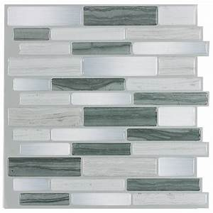 shop peelstick mosaics peel and stick mosaics grey mist With kitchen cabinets lowes with blue mosaic wall art
