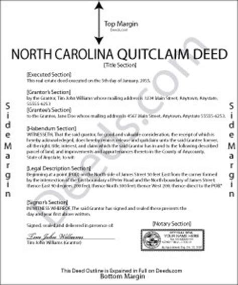 north carolina quit claim deed forms deedscom