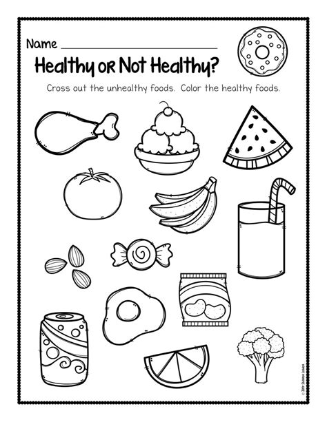 healthy foods worksheet free the