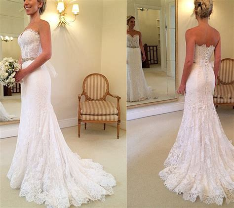 Real Beautiful White Lace Long Wedding Dressessweep Train