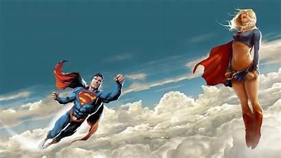 Supergirl Superman Dc Comics Clouds Fanpop Dinding