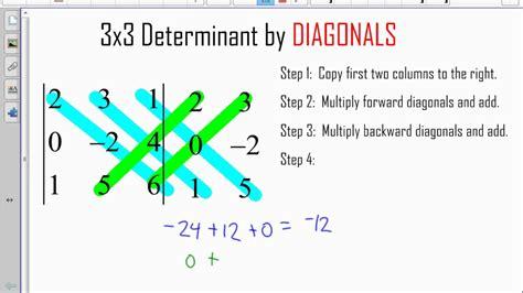 determinant  diagonals youtube