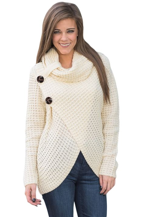 white cowl neck sweater us 14 84 white buttoned wrap cowl neck sweater dropshipping
