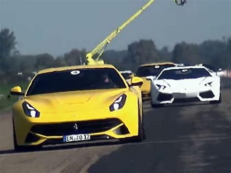 Vs Lamborghini Race by Drag Race F12 Vs Lamborghini Aventador Vs