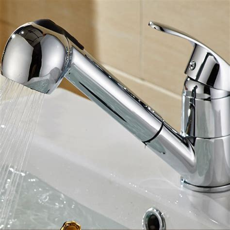 kitchen sink faucet with pull out spray shower kitchen sink faucet chrome pull out spray swivel spout dispenser ebay