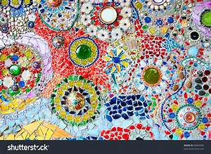 Colorful Glass Mosaic Art Abstract Wall Stock Photo