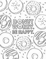 Coloring Donut Sheets Popular Birthday sketch template