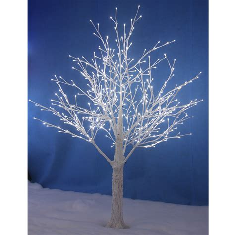 white snowy twig tree white led lights xmas indoor outdoor