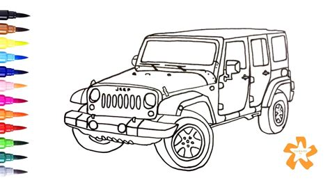 jeep wrangler coloring pages kids coloring pages